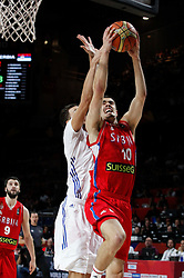 12.09.2014, City Arena, Madrid, ESP, FIBA WM, Frankreich vs Serbien, Halbfinale, im Bild Serbia´s Kalinic (R) // during FIBA Basketball World Cup Spain 2014 semifinal match between France and Serbia at the City Arena in Madrid, Spain on 2014/09/12. EXPA Pictures © 2014, PhotoCredit: EXPA/ Alterphotos/ Victor Blanco<br /> <br /> *****ATTENTION - OUT of ESP, SUI*****