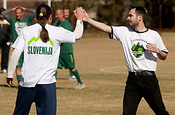 Rok Plestenjak and Andrej Miljkovic celebrate during friendly match between Slovenian football journalists and officials of Slovenian football federation at  Hyde Park High School Stadium on June 16, 2010 in Johannesburg, South Africa.  (Photo by Vid Ponikvar / Sportida)