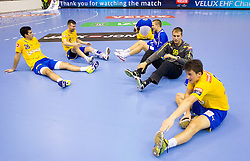 Urh Kastelic of Celje, David Razgor of Celje after the handball match between RK Celje Pivovarna Lasko and IK Savehof (SWE) in 3rd Round of Group B of EHF Champions League 2012/13 on October 13, 2012 in Arena Zlatorog, Celje, Slovenia. (Photo By Vid Ponikvar / Sportida)