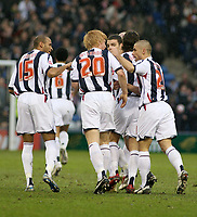 Photo: Mark Stephenson.<br />West Bromwich Albion v Leeds United. The FA Cup. 06/01/2007.<br />West Brom's no 20 Paul Mcshane scores the first goal.