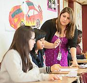 Vanessa Saldaña teaches math to 8th graders at McReynolds Middle School, April 26, 2013.