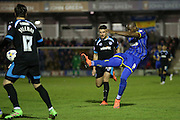 AFC Wimbledon striker Tom Elliott (9) shoots from range during the Sky Bet League 2 match between AFC Wimbledon and Portsmouth at the Cherry Red Records Stadium, Kingston, England on 26 April 2016.