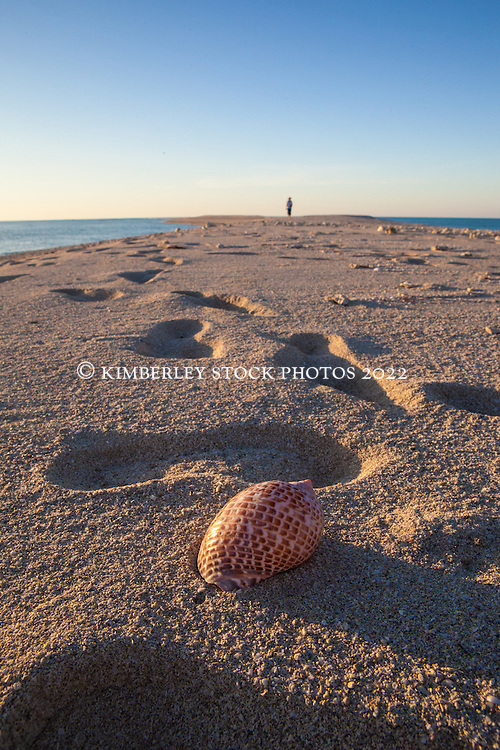 A lone tourist wanders on a sandspit on Adele Island, the farthest island from the Kimberley coast in the Buccaneer Archipelago.