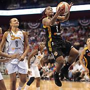 Riquna Williams, Tulsa Shock, drives to the basket during the Connecticut Sun V Tulsa Shock WNBA regular game at Mohegan Sun Arena, Uncasville, Connecticut, USA. 2nd July 2013. Photo Tim Clayton