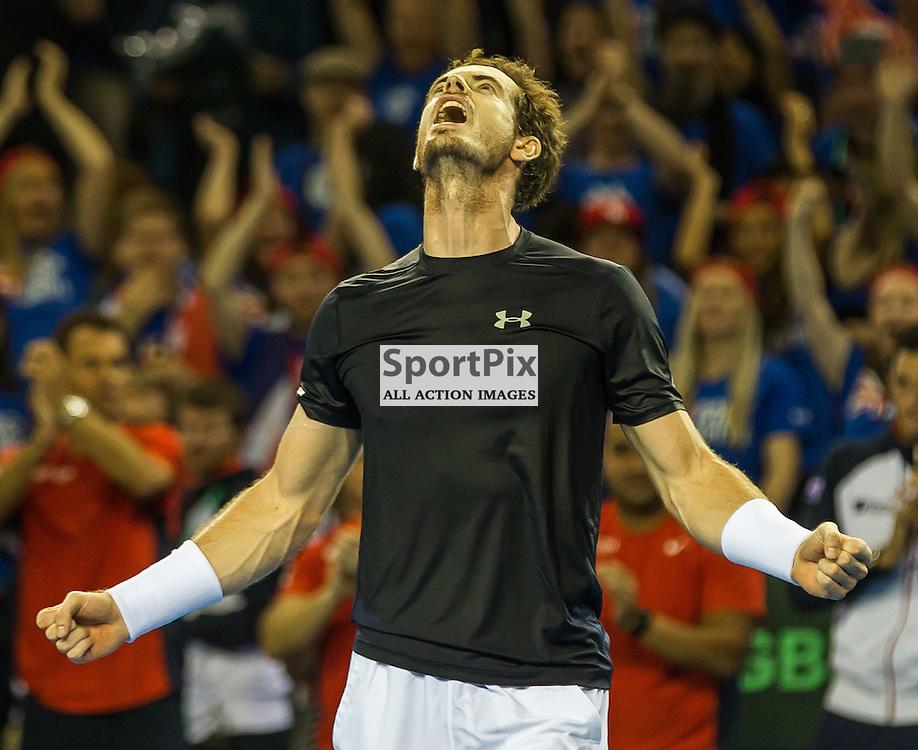 Andy Murray celebrates winning the Davis Cup Semi-final between Great Britian and Australia (c) ROSS EAGLESHAM   Sportpix.co.uk