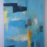The Path in Blue, 2014<br /> oil &amp; fabric<br /> 36&quot;x48&quot;<br /> Sold<br /> by Dona Leon