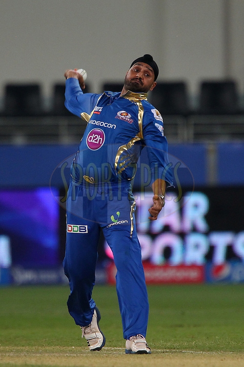Harbhajan Singh of the Mumbai Indians  during match 13 of the Pepsi Indian Premier League Season 7 between the Chennai Superkings and the Mumbai indians held at the Dubai International Stadium, Dubai, United Arab Emirates on the 25th April 2014<br /> <br /> Photo by Ron Gaunt / IPL / SPORTZPICS