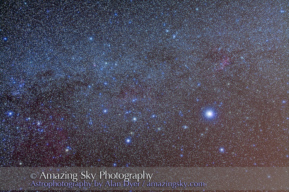 The constellation of Canis Major, with Sirius at upper right, and Messier 41 cluster to the left of Sirius, and M46 and M47 clusters above at upper right. This is a stack of 4 x 4 minute exposures at f/4 with 50mm Sigma lens and Canon 5D MkII at ISO 800. Plus two layers taken thru Kenko Softon filter, same exposure info.