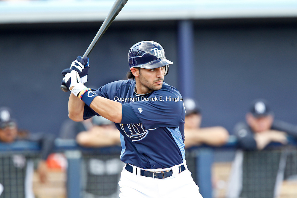 March 21, 2012; Port Charlotte, FL, USA; Tampa Bay Rays shortstop Sean Rodriguez (1) against the New York Yankees during a spring training game at Charlotte Sports Park.  Mandatory Credit: Derick E. Hingle-US PRESSWIRE