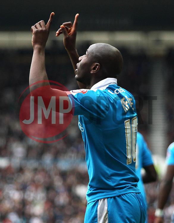 Benik Afobe of Wolverhampton Wanderers celebrates scoring his sides first goal - Mandatory byline: Jack Phillips / JMP - 07966386802 - 18/10/2015 - FOOTBALL - The iPro Stadium - Derby, Derbyshire - Derby County v Wolverhampton Wanderers - Sky Bet Championship