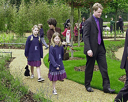 Earl Spencer with two of his children (L-R) Kitty and Amelia, at the opening of the Diana, Princess of Wales memorial garden, in Hyde park.