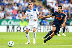 James Maddison of Leicester City takes on Daniel Parejo of Valencia - Mandatory by-line: Robbie Stephenson/JMP - 01/08/2018 - FOOTBALL - King Power Stadium - Leicester, England - Leicester City v Valencia - Pre-season friendly