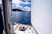 "Sailing onboard Fresquito from Road Town to Jost Van Dyke during the Manhattan Sailing Club's ""De Caribbean Regatta"" cruise."