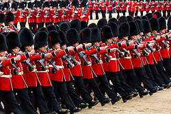© Licensed to London News Pictures. 11/06/2016. LONDON, UK.  Trooping the Colour ceremony takes place in Horse Guards parade. Around 1,500 soldiers take part in the annual Trooping of the Colour ceremony, which this year celebrates the 90th birthday of Her Majesty Queen Elizabeth II.  Photo credit: Vickie Flores/LNP