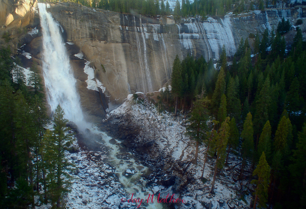 Nevada Falls.  Shot from helicopter during media tour of flood damage.  January 1997.