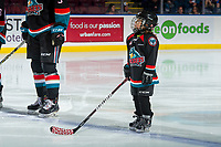KELOWNA, CANADA - OCTOBER 13:  The Save-On Foods player of the game lines up with the Kelowna Rockets against the Tri-City Americans on October 13, 2018 at Prospera Place in Kelowna, British Columbia, Canada.  (Photo by Marissa Baecker/Shoot the Breeze)  *** Local Caption ***