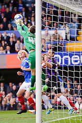 Trevor Carson (NIR) of Portsmouth punches clear - Photo mandatory by-line: Rogan Thomson/JMP - 07966 386802 - 19/04/2014 - SPORT - FOOTBALL - Fratton Park, Portsmouth - Portsmouth FC v Bristol Rovers - Sky Bet Football League 2.