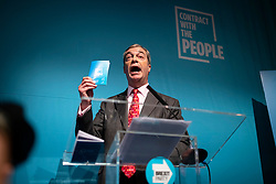 © Licensed to London News Pictures. 22/11/2019. London, UK. Nigel Farage outlines the policies of The Brexit Party at a press event in Westminster. The Brexit Party is contesting a number of seats in the forthcoming general election. Photo credit: Rob Pinney/LNP