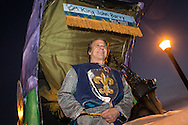 """Feb 15,  New Orleans, LA, Noted author John Barry the king of  the Krewe du Vieux Mardi Gras parade that roles through New Orleans Marigny and French Quarter.<br /> The 2014  theme was """"Where the Vile Things Are,"""".  Krewe du Vieux is know for it  raucous irreverent satire displayed on the floats and by the Krewe members."""