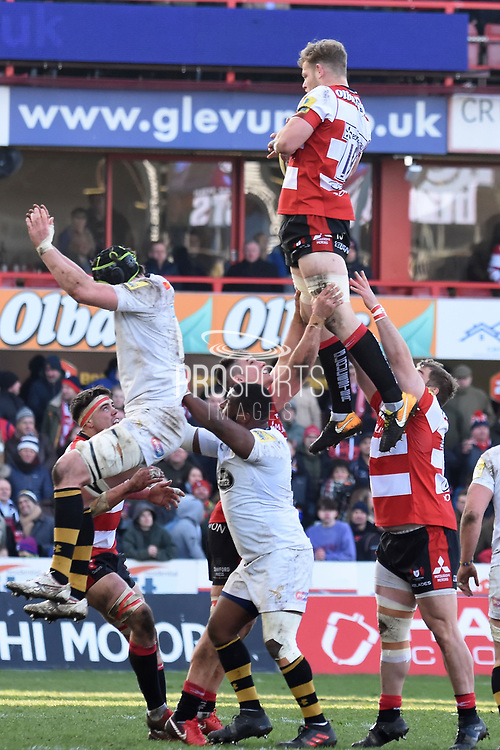 Gloucester lock / back row Tom Savage claims the ball during the Aviva Premiership match between Gloucester Rugby and Wasps at the Kingsholm Stadium, Gloucester, United Kingdom on 24 February 2018. Picture by Alan Franklin.