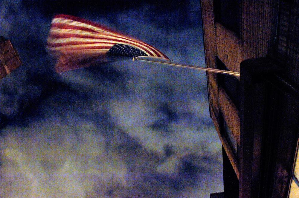 American flag in Chelsea, Manhattan, New York City.