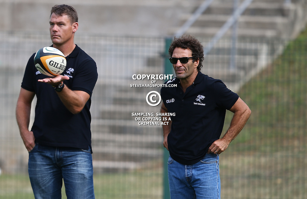 DURBAN, SOUTH AFRICA - APRIL 23: Michael Horak with Paul Anthony during the Provincial Cup match between Cell C Sharks XV and Windhoek Draught Welwitschias at King Zwelithini Stadium on April 23, 2016 in Durban, South Africa. (Photo by Steve Haag/Gallo Images)