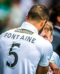 Hibernian's Martin Boyle celebrates after scoring their first goal with Hibernian's Liam Fontaine. <br /> Falkirk 0 v 3 Hibernian, Scottish Championship game played at The Falkirk Stadium 2/5/2015.