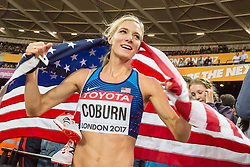 London, August 11 2017 . Emma Coburn, USA, celebrates becoming world champion in the women's 3000m steeplechase final on day eight of the IAAF London 2017 world Championships at the London Stadium. © Paul Davey.