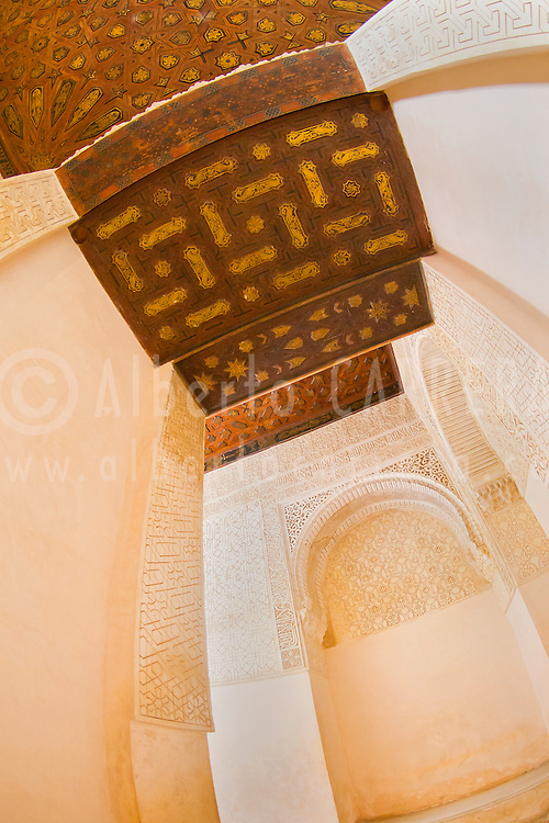 Alberto Carrera, Decorated Wall and Ceiling, Nazaries Palaces, La Alhambra, UNESCO World Heritage Site, Granada, Andalucía, Spain, Europe