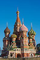 Russie, Moscou, Place Rouge classée Patrimoine Mondial de l'UNESCO, la cathédrale Basile le Bienheureux de 1561 // Russia, Moscow, Red Square, St Basil's Cathedral