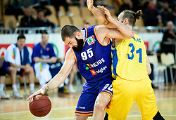 Dzoko Salic of Helios Suns vs Milojko Vasilic of Hopsi Polzela during basketball match between KK Hopsi Polzela and KK Helios Suns in semifinal of Spar Cup 2018/19, on February 16, 2019 in Arena Bonifika, Koper / Capodistria, Slovenia. Photo by Vid Ponikvar / Sportida