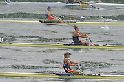 Lucerne SWITZERLAND,  W1X. Start of the Second semi-final women's single sculls,  top down AZE W1X Nataliya MUSTAFYEVA, NZL W1X. Emma TWIGG and CZE W1X Mirka KNAPKOVA,  at the   2011 FISA World Cup on the Lake Rotsee.  15:42:23  Saturday   09/07/2011   [Mandatory Credit Peter Spurrier/ Intersport Images]