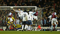 BIRMINGHAM, ENGLAND - Tuesday, January 6, 2004: Portsmouth's Arjan De Zeeuw almost handles the ball in the penalty area against Aston Villa during the Premiership match at Villa Park. (Pic by David Rawcliffe/Propaganda)