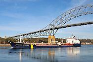 Oil tanker Thalassa Desgagnes in the Cape Cod Canal under the Bourne Bridge