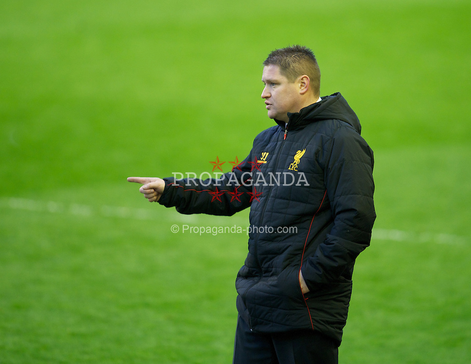 LIVERPOOL, ENGLAND - Friday, April 26, 2013: Liverpool's manager Matt Beard during the FA Women's Cup Semi-Final match against Arsenal at Anfield. (Pic by David Rawcliffe/Propaganda)