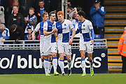 Bristol Rovers Rory Gaffney (30) celebrates his  goal with team mates 2-0 first half during the EFL Sky Bet League 1 match between Bristol Rovers and Southend United at the Memorial Stadium, Bristol, England on 11 March 2017. Photo by Gary Learmonth.
