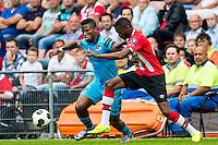 EINDHOVEN - 14-08-2016, PSV - AZ, Philips Stadion, 1-0, AZ speler Fred Friday, PSV speler Nicolas Isimat-Mirin