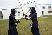 19/03/2014 Japanese evening at the Galway Education Centre with a Kendo display by Galway Kendo Club members Macdara Maguire and Daniel Mulcahy. Photo:Andrew Downes .