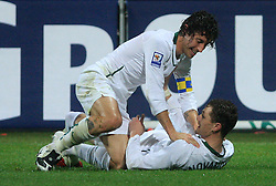 Robert Koren (8) and Milivoje Novakovic (11) celebrate a goal at the fourth round qualification game of 2010 FIFA WORLD CUP SOUTH AFRICA in Group 3 between Slovenia and Northern Ireland at Stadion Ljudski vrt, on October 11, 2008, in Maribor, Slovenia.  (Photo by Vid Ponikvar / Sportal Images)
