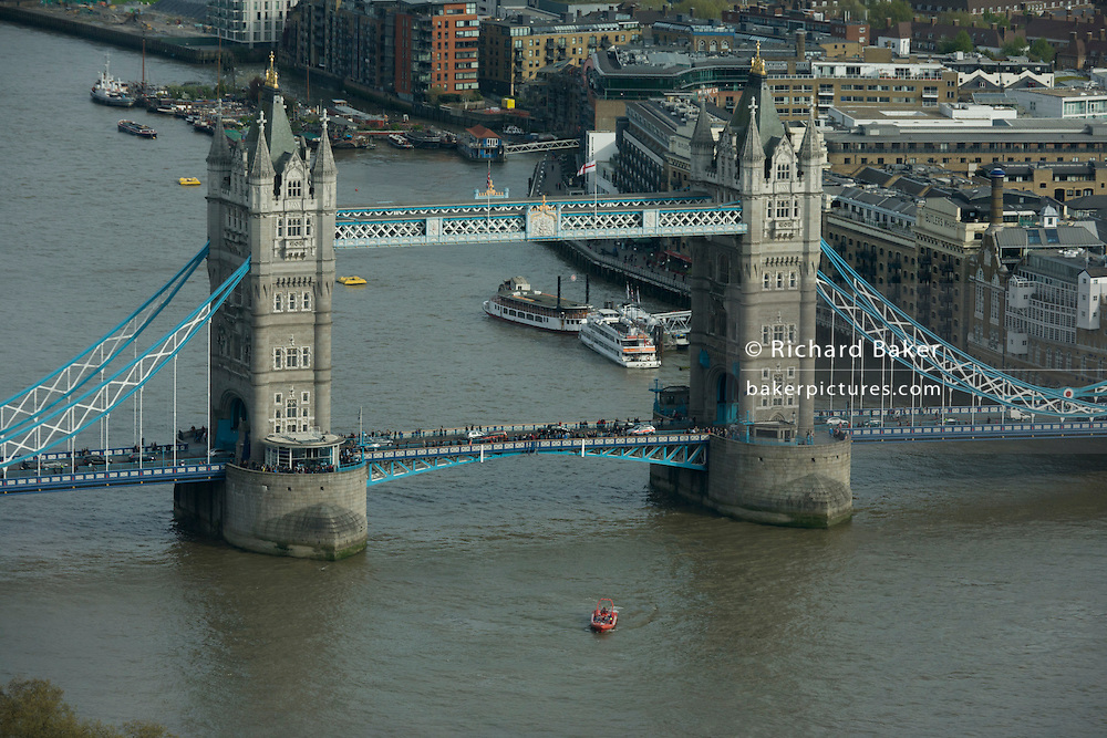 London's Tower Bridge seen from the Sky Garden of the Walkie Talkie building in the City of London.