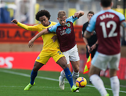 Willian of Chelsea (L) and Charlie Taylor of Burnley in action - Mandatory by-line: Jack Phillips/JMP - 28/10/2018 - FOOTBALL - Turf Moor - Burnley, England - Burnley v Chelsea - English Premier League