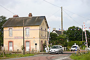Railway level crossing at Quettreville-Sur-Seine in Normandy, France