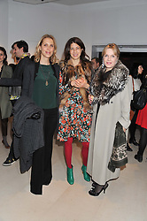 Left to right, TATIANA D'ABO, KAREN GROSS and YVONNE WINKLER at the launch Sanctuary, Britains Artists and their Studios held at Christies, 8 King Street, St.James's, London on 13th March 2012.