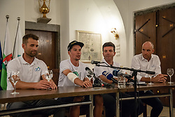 From left side: Coach of Slovenian national cycling team Andrej Hauptman, Primoz Roglic  during press conference of slovenian rider Primoz Roglic after Tour de France 2018 on August 6, 2018 in Ljubljana, Slovenia. Photo by Urban Meglic / Sportida