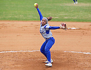 Hampton University Senior Tiffany Brents pitches during the second game of Hampton's doubleheader split against Morgan State University at the Lady Pirates Softball Complex on the campus of Hampton University in Hampton, Virginia.  (Photo by Mark W. Sutton)