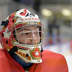 WHITBY, - Dec 14, 2015 -  Game #4 - Russia vs. Canada East at the 2015 World Junior A Challenge at the Iroquois Park Recreation Complex, ON. Nicholas Latinovich #31 of Team Canada East during the pre-game warm-up.<br /> (Photo: Shawn Muir / OJHL Images)