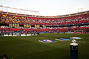 April 12th 2017, Madrid, Spain; UEFA Champions League football quarterfinal, leg 1, Atletico madrid versus leicester City; Mosaic drawn by Atletico de Madrid supporters before the game