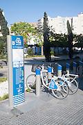 málagabici bicycle sharing scheme city centre Malaga, Spain