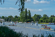 """Henley on Thames, United Kingdom, 21st June 2018, Thursday, Training day before the start of  """"Henley Women's Regatta"""", Crews Turning at the gap, to return to the start of the course, Henley Reach, Thames Valley, River Thames, England, © Peter SPURRIER"""