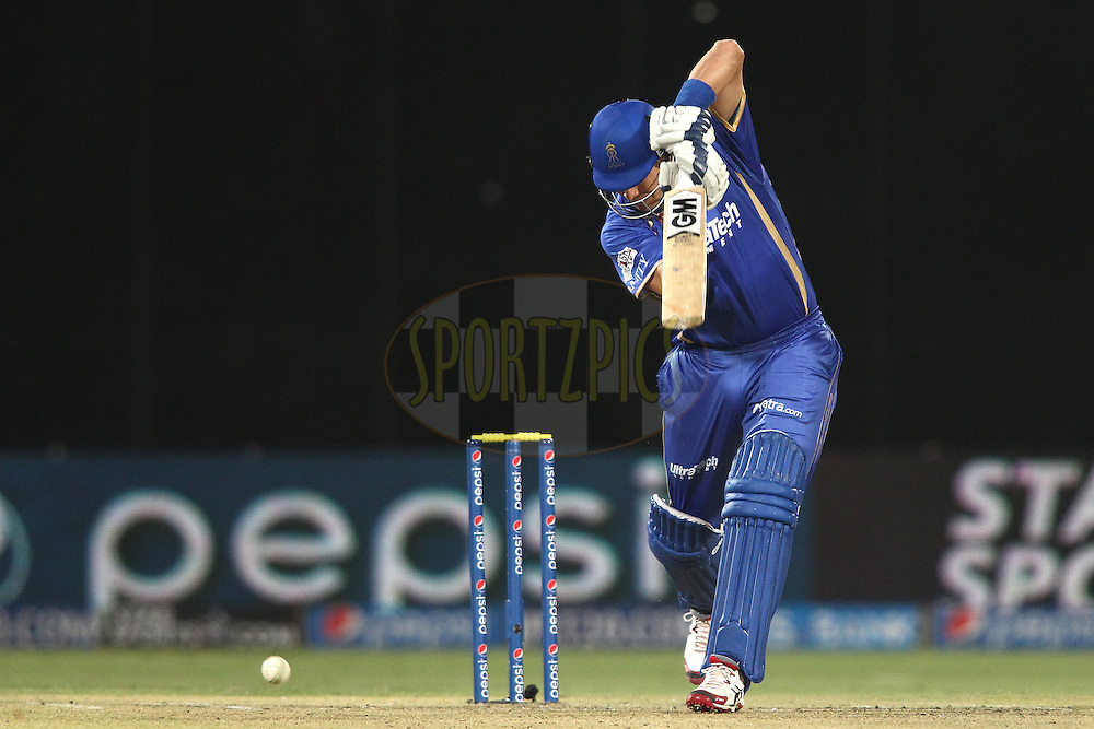 Shane Watson captain of the Rajasthan Royals drives a delivery during match 23 of the Pepsi Indian Premier League Season 2014 between the Delhi Daredevils and the Rajasthan Royals held at the Feroze Shah Kotla cricket stadium, Delhi, India on the 3rd May  2014<br /> <br /> Photo by Shaun Roy / IPL / SPORTZPICS<br /> <br /> <br /> <br /> Image use subject to terms and conditions which can be found here:  http://sportzpics.photoshelter.com/gallery/Pepsi-IPL-Image-terms-and-conditions/G00004VW1IVJ.gB0/C0000TScjhBM6ikg